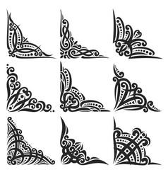 set of decorative black corners vector image