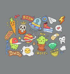 a set of cartoon stickers comic doodles cartoon vector image vector image