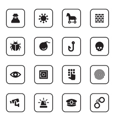 black flat security icon set vector image