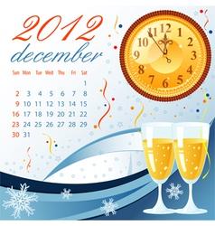 calendar for 2012 december vector image vector image