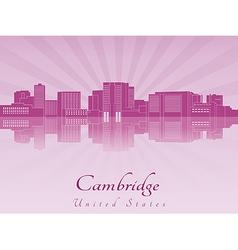 Cambridge skyline in purple radiant orchid vector image