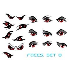 Danger monster aand evil red eyes set vector image