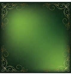 green card with golden decor in the corners vector image vector image