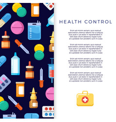 medicine banner design with bright flat icons vector image