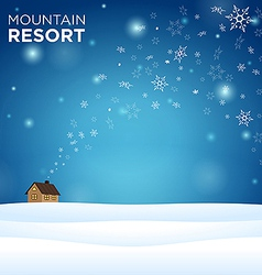 mountain resort alone hous on snow vector image vector image