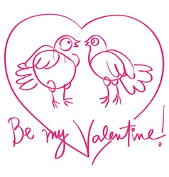 pigeos love doodle vector image