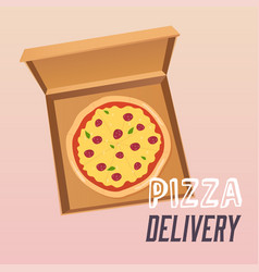 pizza in the opened cardboard box delivery flat vector image