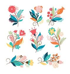 set of cute cartoon flowers vector image vector image