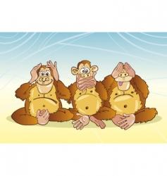 three monkeys vector image