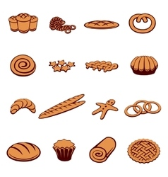 Bakery and pastry icons vector image vector image