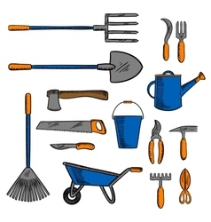 Colored sketch icon of gardening hand tools vector image