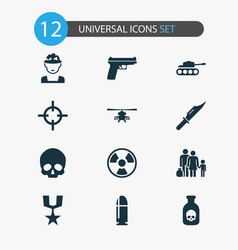 combat icons set collection of weapons cranium vector image