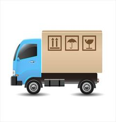 Delivery truck with a cardboard box vector image vector image