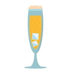glass cup champagne bubbles ice vector image