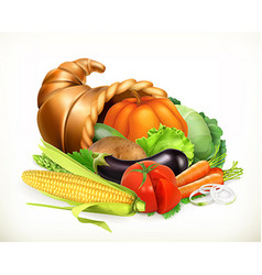Horn of plenty Harvest vegetables Cornucopia 3d vector image