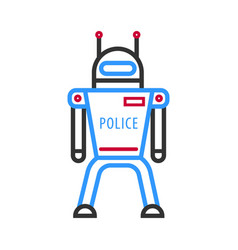 police robot isolated on white background vector image vector image