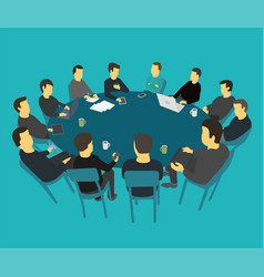 round big table talks brainstorm team business vector image vector image