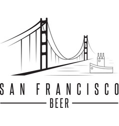 san francisco golden gate bridge with beer vector image vector image