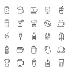 Set of Outline Stroke Beverage icon vector image vector image