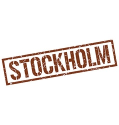 Stockholm brown square stamp vector image vector image