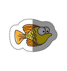 surprised fish cartoon icon vector image vector image