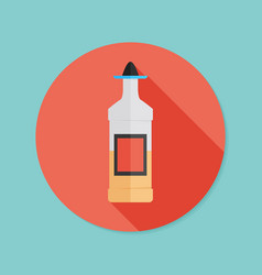 tequila bottle flat icon with long shadow eps10 vector image vector image