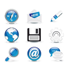 glossy icons set vector image vector image