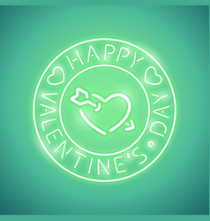 happy valentines day with arrowed heart green neon vector image vector image
