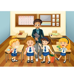 Male teacher and students in class vector image vector image