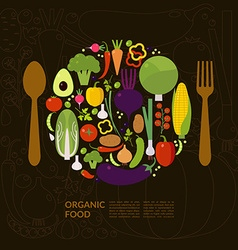 Organic food Elements and icons for cards poster vector image
