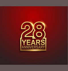 28 years golden anniversary line style isolated vector