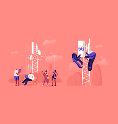 5g technology concept workers on transmitter vector image