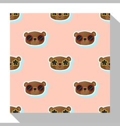 Animal seamless pattern collection with bear 1 vector image