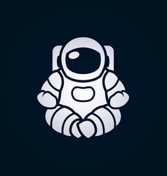 Astronaut in space suit sitting in lotus pose vector