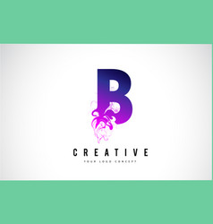 b purple letter logo design with liquid effect vector image