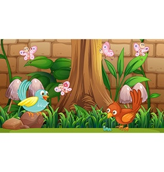 Birds and butterflies in the garden vector image