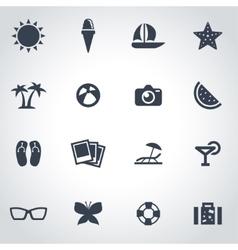 black summer icon set vector image