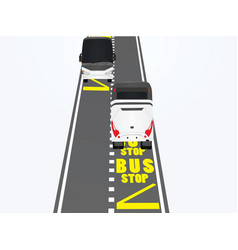 bus stop on road vector image