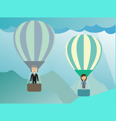 Businessman in a balloon flat style vector