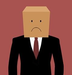 Cardboad businessman with an unhappy face vector