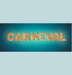 carnival festive card design retro fonts vector image
