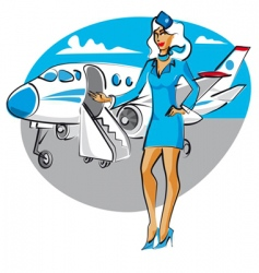 cartoon air hostess vector image