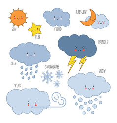Cartoon weather kids vocabulary icons vector
