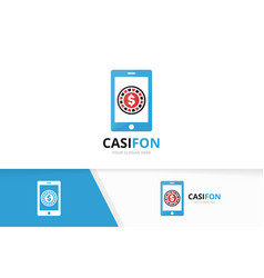 casino and phone logo combination chip and vector image