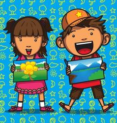 children drawing competition vector image vector image