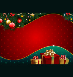 christmas background with golden gift and pattern vector image