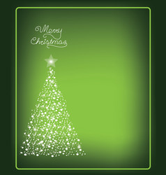 Christmas card with christmas tree made from snow vector