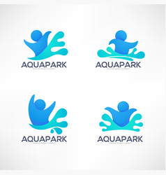 Collection of aqua park and swimming actions logo vector