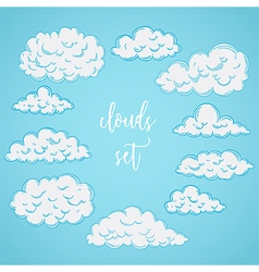 collection of hand drawn clouds vector image