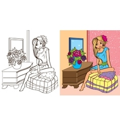 Colouring Book Of Girl In Room vector image